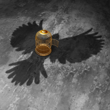Cage freedom concept as an open birdcage with a giant bird cast shadow flying above with open wings as a symbol of liberty and justice.
