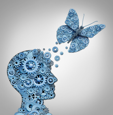 Human thinking and artificial intelligence concept as a technology symbol for a robot head and butterfly shaped with gears and machine cog wheels.