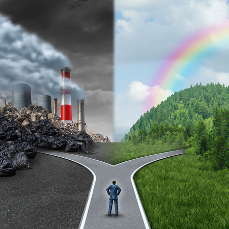Climate choice concept as a person standing at a cross road junction between an unhealthy scene with grey polluted dirty and contaminated air contrasted with a green healthy horizon of plants and clean air as a metaphor for global ecology.