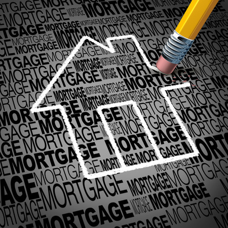 Home mortgage concept and real estate house ownership success symbol as a pencil erasing the shape of a family residence as a metaphore for paying off residential debt and financing a household.