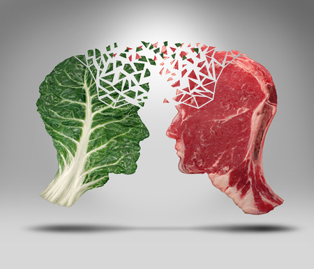 Food information and eating health balance exchange concept related to choices with a human head shape green vegetable kale leaf and a piece of red meat steak for nutritional fitness and lifestyle decisions and diet facts.