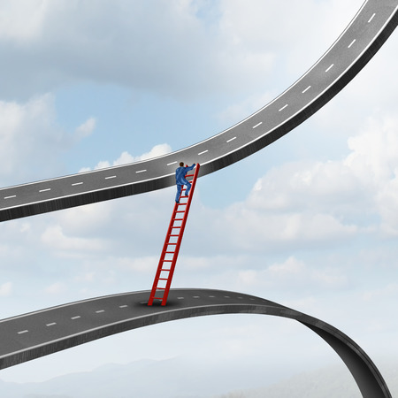 Career move business concept as a businessman climbing a ladder of success away from a road going down to a path rising up as a metaphor for timing strategy and seeking new promising opportunities in the market.