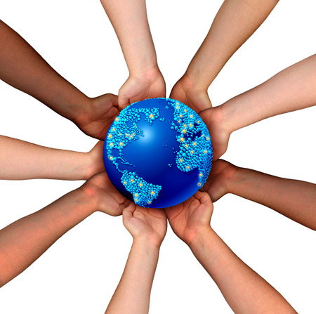 Global connections and globalization concept as a connected business network of multiethnic people holding a world map planet for worldwide cooperation and trade agreement unity.