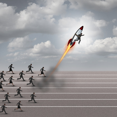 Motivation concept and career boost as a group of business people running on a track with a businessman on a rocket ship breaking away from the competition as a success metaphor for a game changer leader.