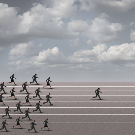 Winning the race business concept as a group of businesspeople running together with an individual businessman breaking away from the pack heading towards the finnish line as a success metaphor.