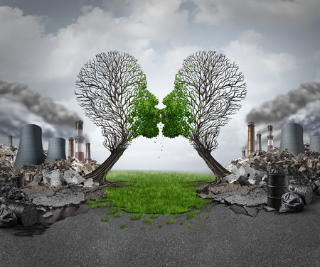 Climate recovery and environmental  renewal as two empty trees shaped as human heads kissing and reviving new green growth  out of a polluted industrial background as a hope metaphor for environment motivation.