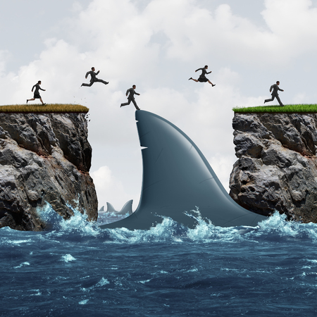 Profit from risk business concept as a group of businesspeople taking advantage of challenging market conditions as a businessman and businesswoman jumping on a shark fin as a bridge to success and opportunity metaphor.