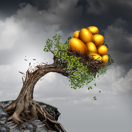 Financial success problem and investment stress symbol as a growing tree breaking due to the excess weight of growth income as a group of golden nest eggs pushing the plant down.