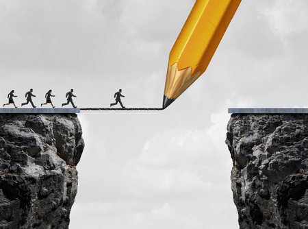 Drawing a bridge and conquering adversity business concept as a group of people running from one cliff to another with the help of a pencil line sketch as a concept for bridging the gap for success.