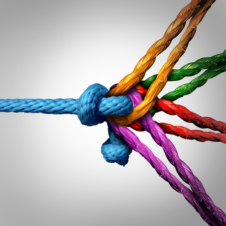 Connected group concept as many different ropes tied and linked together as an unbreakable chain as a community trust and faith metaphor for dependence and reliance on trusted partners for team and teamwork support and strength.
