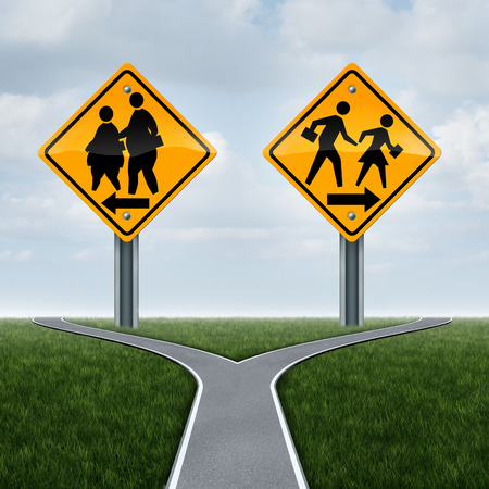 School fitness symbol and physical education concept as overweight obese students on a sign and another with healthy active fit children running as a lifestyle crossroad choice metaphor for kids.