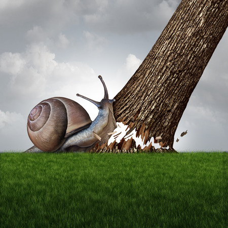 Strength concept as a snail pushing down a large tree trunk as a business success metaphor for the power of motivation and a symbol for confidence and courage to accomplish anything.