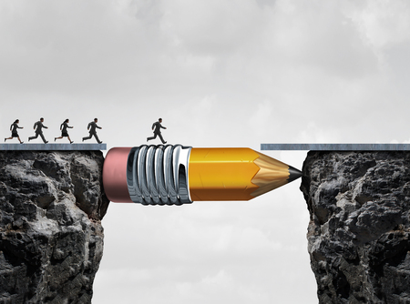Business success symbol and conquering adversity as a group of people running from one cliff to another with the help of a pencil acting as a bridge in a concept for bridging the gap to achieve a goal.