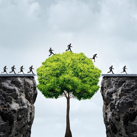 Business growth opportunity concept as a group of business people taking advantage of a tall tree grown in time to create a bridge to cross over and link two seperate cliffs as a motivation metaphor for financial patience and opportunism