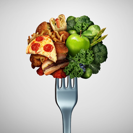 Food health options concept diet struggle and decision concept and nutrition choices dilemma between healthy good fresh fruit and vegetables or cholesterol rich fast food with one divided dinner fork with 3D illustration elements.