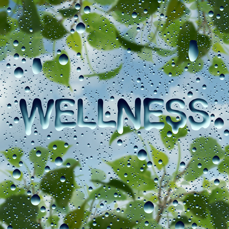 Wellness health symbol and natural healthy lifestyle symbol as water drops on a window with text and a plant with sky as a harmony and relaxation metaphor in a 3D illustration style.