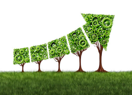 Photo pour Economy graph growth chart and agriculture development concept as a group of gear trees united together as an arrow pointing upwards as a success metaphor for profits and growth as a 3D render. - image libre de droit
