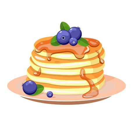 Illustration pour Pancakes with blueberry and mint leaves. Vector illustration. - image libre de droit