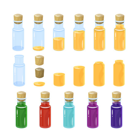 Potion bottles. Vector illustration. colorful set. In the bottle poured a different amount of creepy.