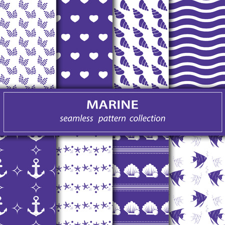 Illustration pour A set of paintings. Eight pieces of paintings on the marine theme. Cruise, vacation, sea, summer. Seamless fabric. Stock vector - image libre de droit
