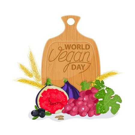 International Day Without Meat Go Vegan Banner Vector Isolated Healthy Vegetarian Food Fresh Fruits Royalty Free Vector Graphics