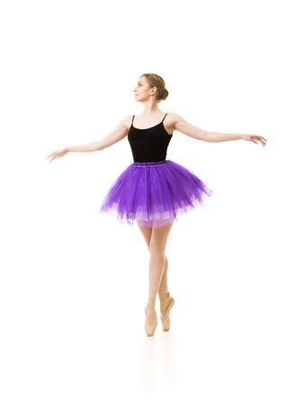 Photo pour Girl in purple tutu and black leotard dance ballet. Studio shot on white background , isolated images. - image libre de droit
