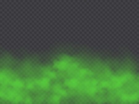 Illustration pour Green fog, bad smell or toxic smoke cloud isolated on transparent background. Realistic smog, haze, mist or cloudiness effect. Realistic vector illustration. - image libre de droit