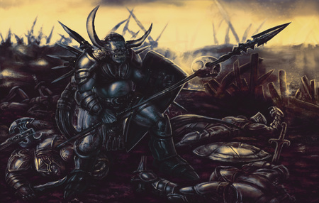 Knight monster armed with spear in the background of the battlefield. Colorful picture in genre of fantasy.