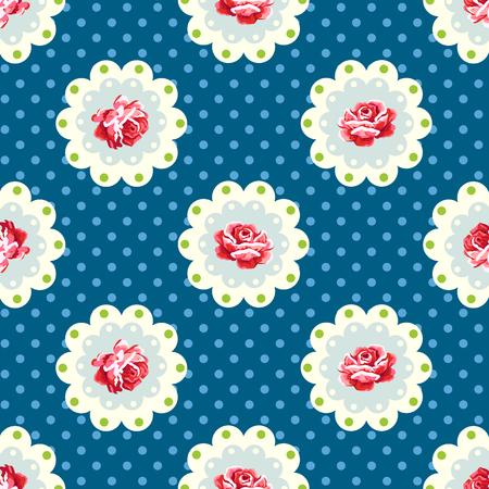 Illustration pour Vintage rose pattern. Shabby chic style - image libre de droit
