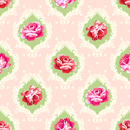 Illustration pour Shabby chic rose damask pattern. Vector seamless vintage floral background - image libre de droit