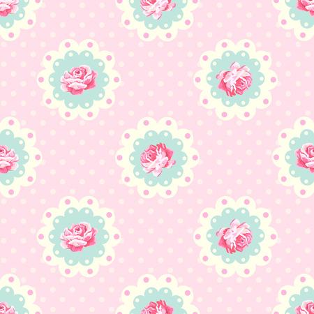 Illustration pour Vintage rose pattern. Shabby chic style vector background - image libre de droit