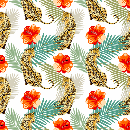 Illustration pour Floral leopard seamless pattern.  Animal print pattern with tropical leaves and flowers - image libre de droit