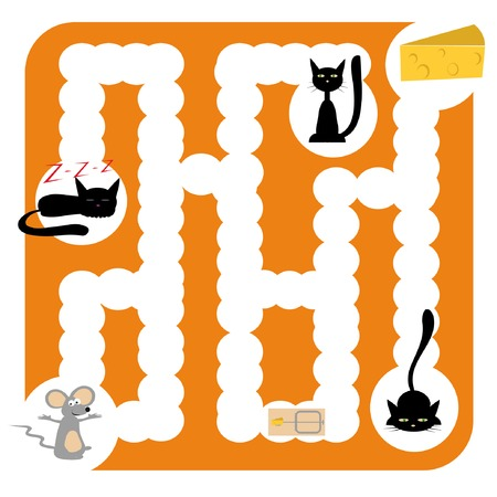 funny labyrinth for children entertainment with cats, mouse and cheese