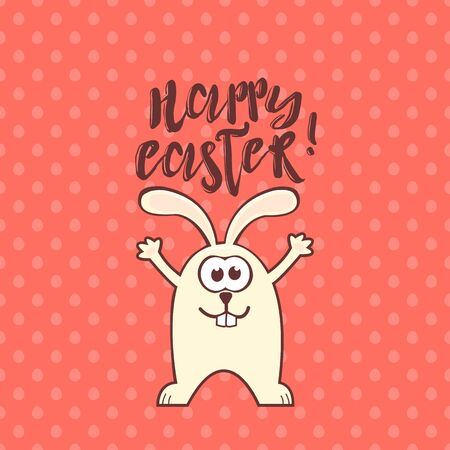 Illustration for Easter greeting card with cute rabbit and text on living coral seamless pattern background with eggs. Inscription: Happy Easter - Royalty Free Image