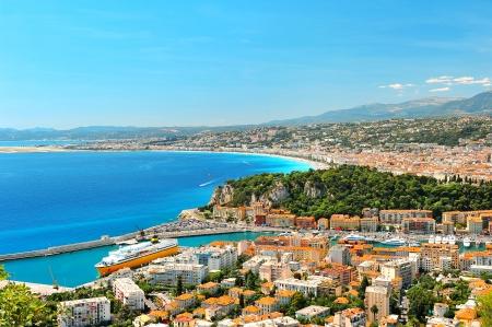 Panoramic view of Nice, mediterranean resort, Cote d