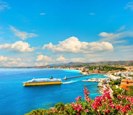 View of mediterranean resort, Nice, Cote d
