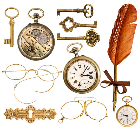 set of golden antique objects  old keys, clock, ink feather pen, nostalgic glasses isolated on white background