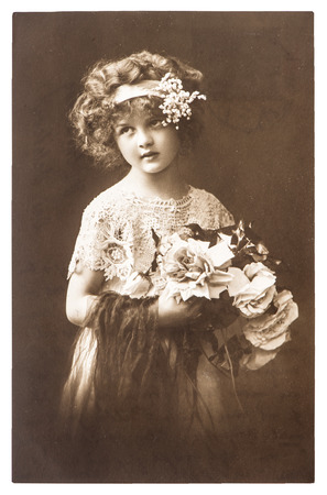 vintage nostalgic portrait of little girl ca  1918