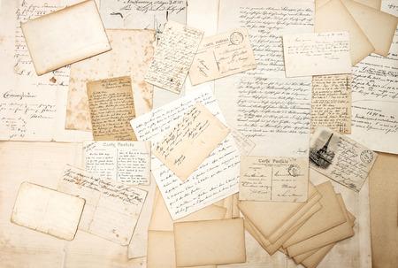 Photo pour old letters, handwritings and vintage postcards. nostalgic sentimental background. ephemera - image libre de droit