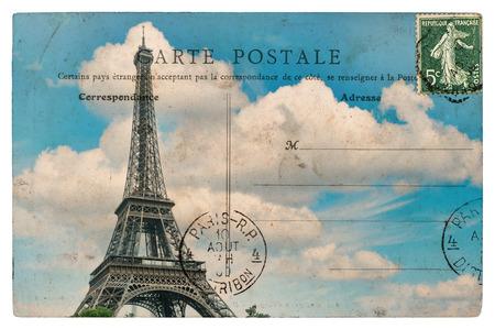 Foto de antique french postcard from paris with eiffel tower over blue sky - Imagen libre de derechos