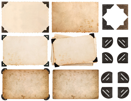 Photo pour photo corner, old photo card, aged paper isolated on white background - image libre de droit