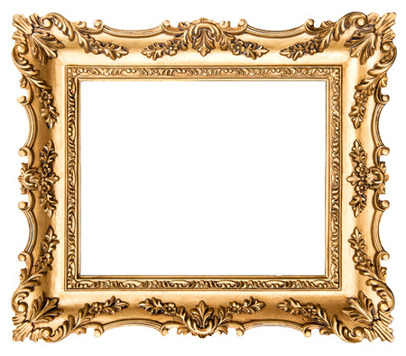 Photo for Vintage golden picture frame isolated on white background. Antique style object - Royalty Free Image