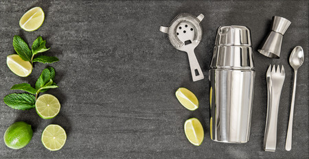 Photo for Drink making tools and ingredients for cocktail lime and mint. Top view - Royalty Free Image