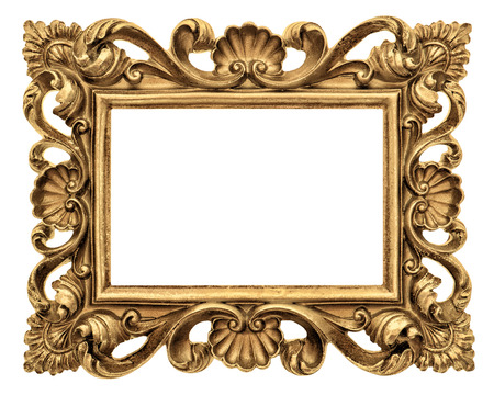 Frame for picture, photo, image. Vintage golden baroque style object isolated on white background