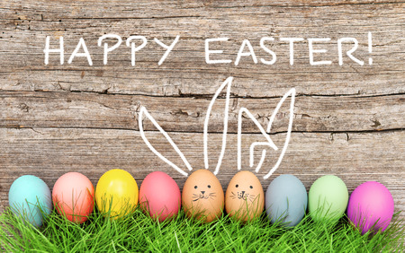Photo for Easter eggs and cute bunny in green grass. Festive decoration. Happy Easter! - Royalty Free Image