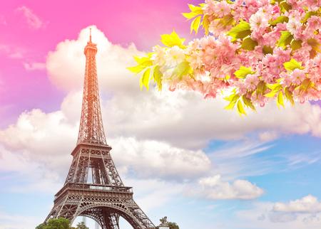 Photo pour Eiffel Tower Paris against colorful blue sunset sky. Blossoming spring cherry tree. Vintage style toned picture - image libre de droit