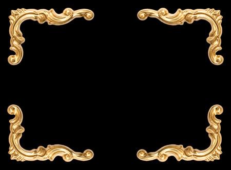 Foto de Golden corner frame on black background - Imagen libre de derechos
