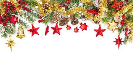 Photo pour Christmas decoration red gold and tree branches. Festive border - image libre de droit