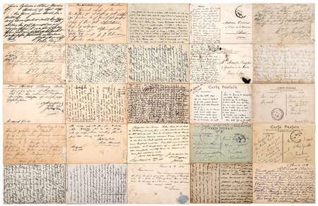 Foto de Vintage used paper texture background. Antique postcards. Old handwritten undefined texts from ca.1900. - Imagen libre de derechos