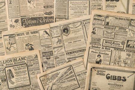 Foto de Newspaper pages with antique advertising. Vintage fashion magazine for woman - Imagen libre de derechos